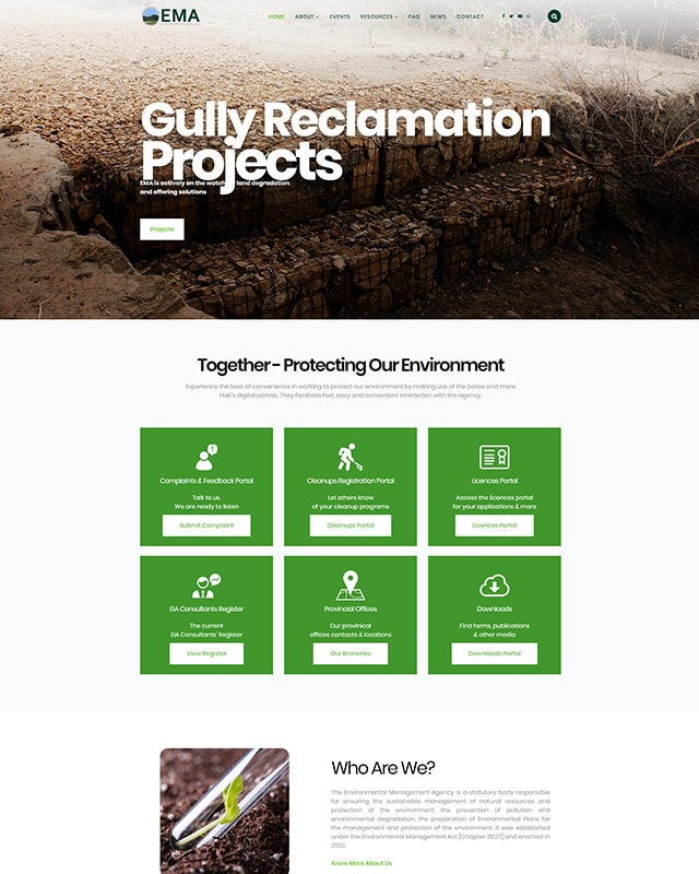 Environmental Management of ZImbabwe Website Screenshot