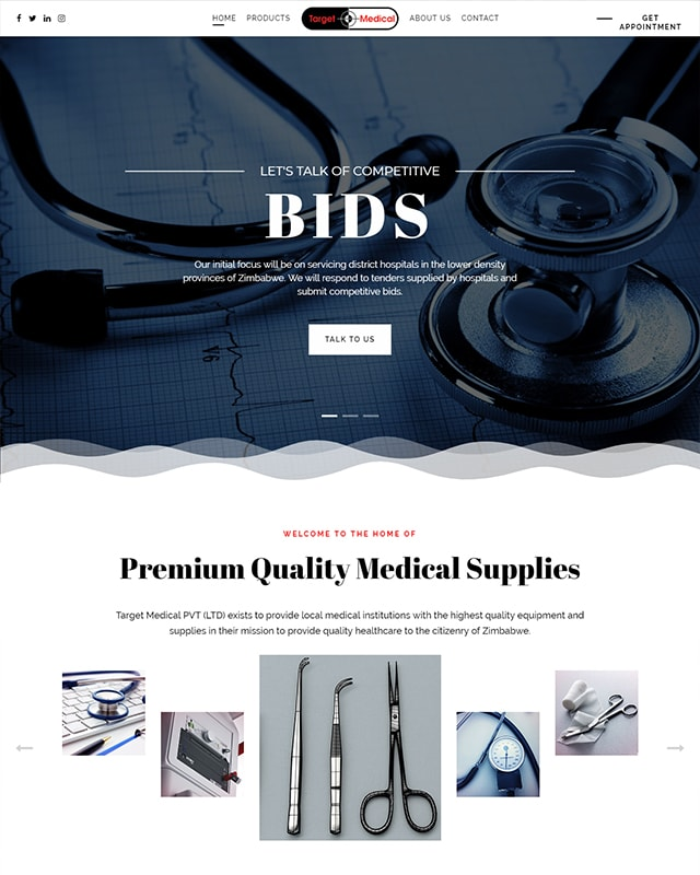 Target Medical Website Screenshot