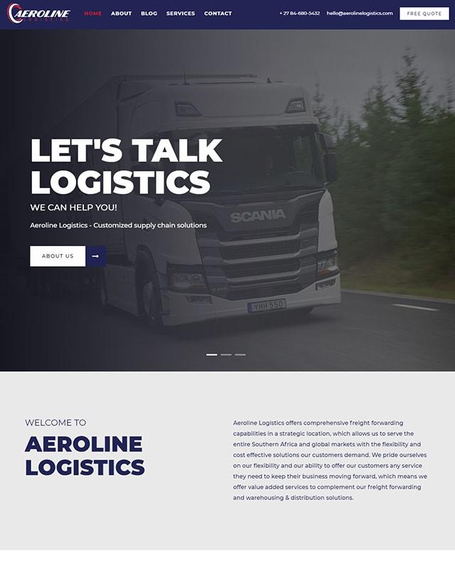 Aeroline Logisting Website Screenshot