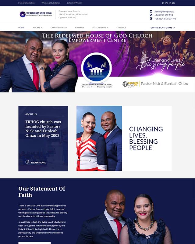 THE REDEEMED HOUSE OF GOD Website Screenshot